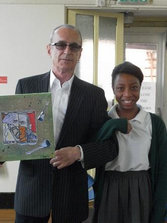 Nkechinyere Anosike presented Francis with an album cover for Status Quo she had designed herself. Rossi said he would hang in his music room.