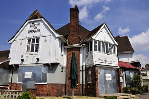 The ex-Organ and Dragon pub building, in London Road, Ewell