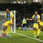 Wilfried Zaha celebrates scoring his second goal for Crystal Palace tonight. Picture: Action Images