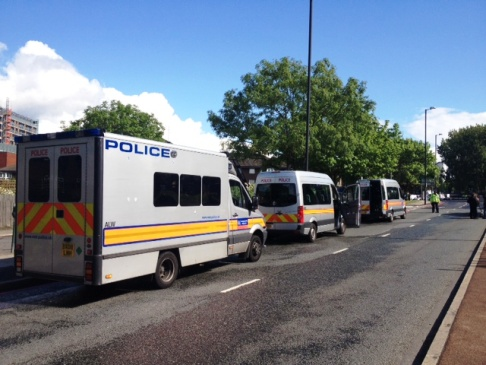 This Is Local London: Police vans in John Charles Street, Woolwich