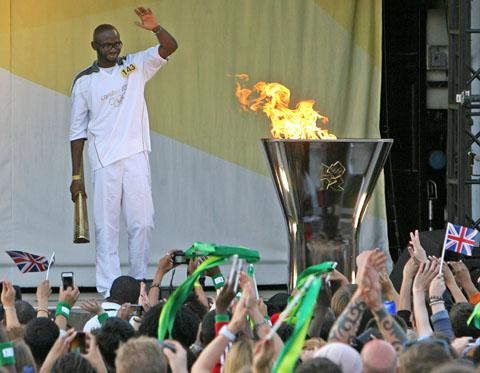 Fabrice Muamba during the Olympic Torch Relay event at Walthamstow Town Hall