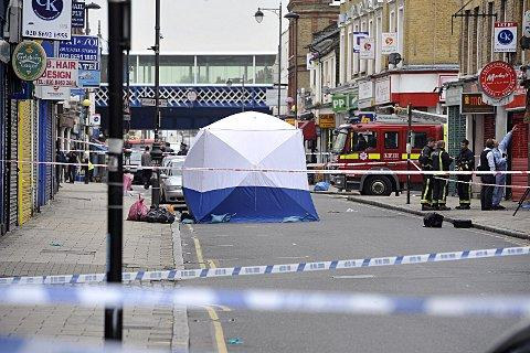 This Is Local London: Police cordoned off part of Deptford High Street yesterday