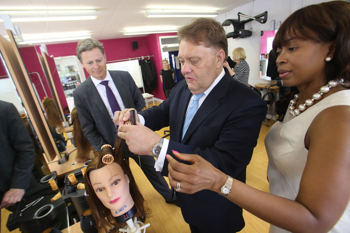 Government advisor John Hayes and Hendon MP Matthew Offord visited departments in hairdressinf and construction at Barnet College