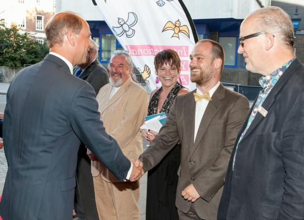 This Is Local London: Prince Edward shakes hands with IYAF director Jeremy Sachs, alongside Rose chief executive Robert O'Dowd and fellow festival organisers