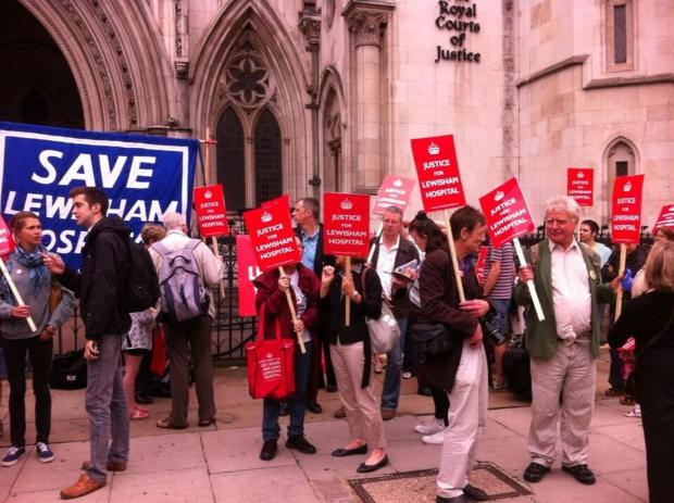 Campaigners outside the High Court this morning.