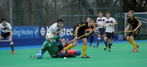 Flashback: Surbiton keeper David Kettle thwarts a Beeston attack in last year's MHL Championship