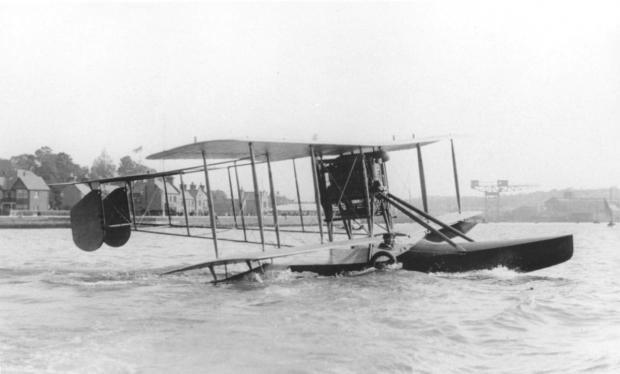 Seaplane: The first aircraft built in Kingston was a Sopwith Bat Boat, pictured on the sea off Cowes with Harry Hawker, its test pilot and co-designer, on board, but invisible