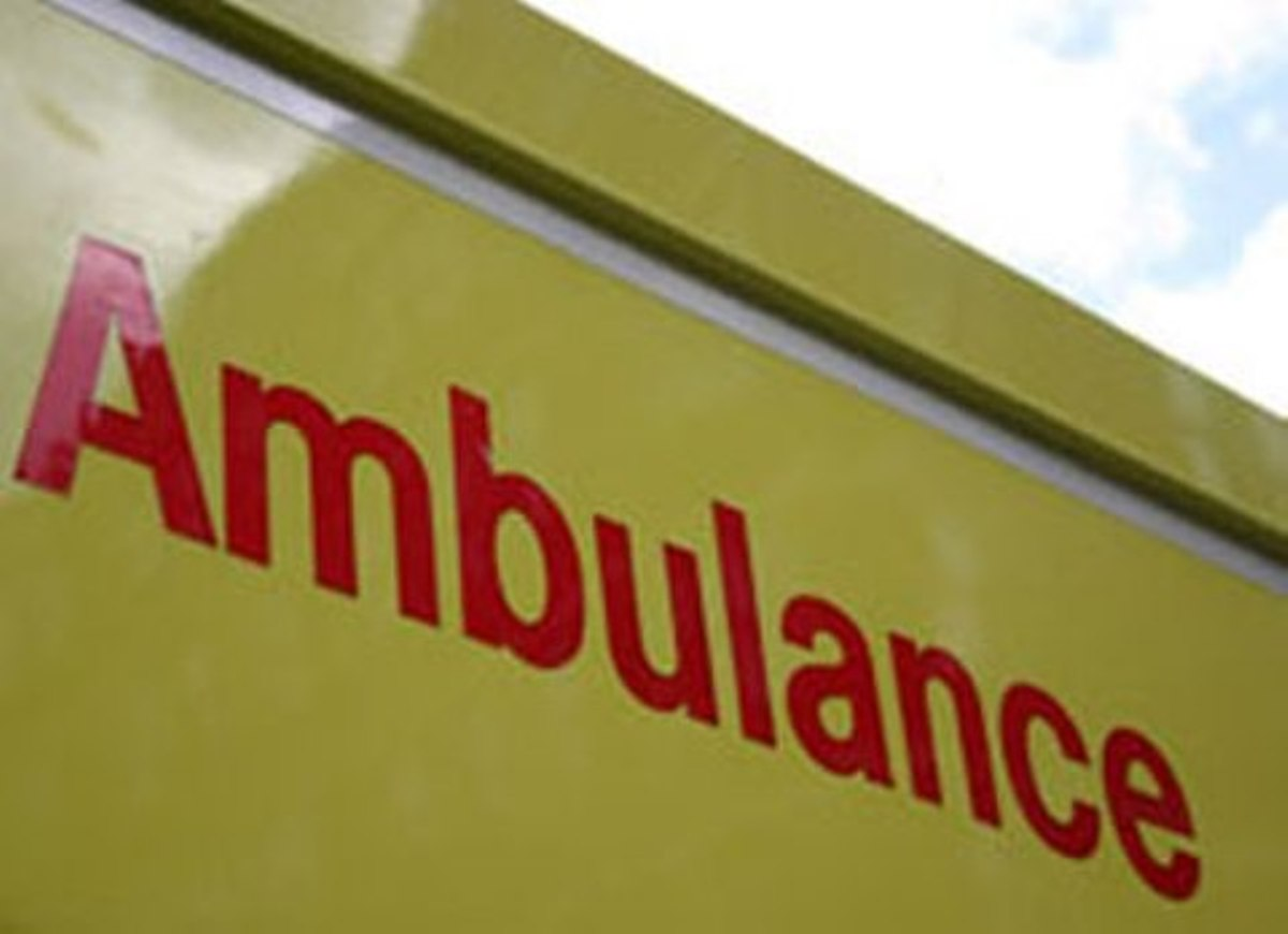 A cyclist was rushed to hospital after being hit by a van yesterday afternoon