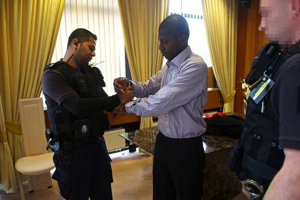The scene as immigration officers raided the wedding in October