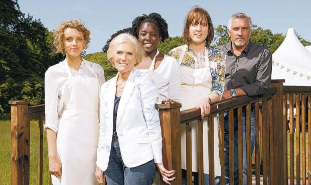 This Is Local London: FINAL LINEUP: The Great British Bake Off finalists and presenters, from left, Ruby, Mary Berry, Kimberley, Frances and Paul Hollywood