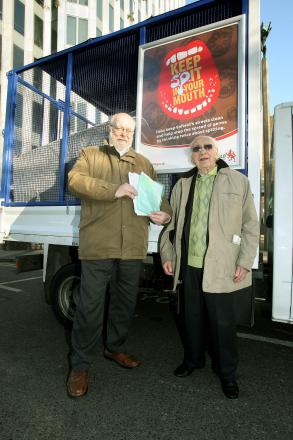 Anti-spitting by-law was championed by Monty Meth, president of Enfield Over 50s Forum and Councillor Chris Bond