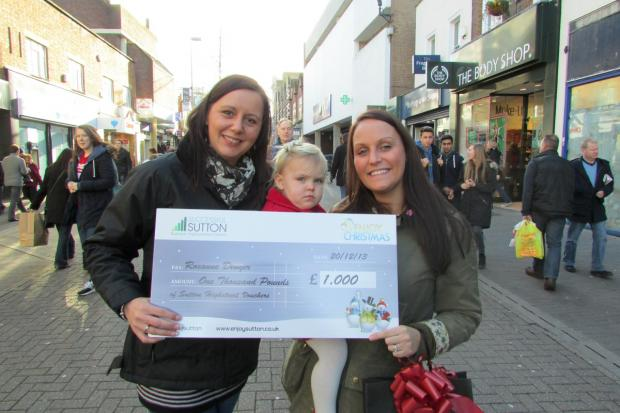 Roxanne Denyer (right) with her two-year-old daughter and Successful Sutton marketing manager Teresa Whitfield