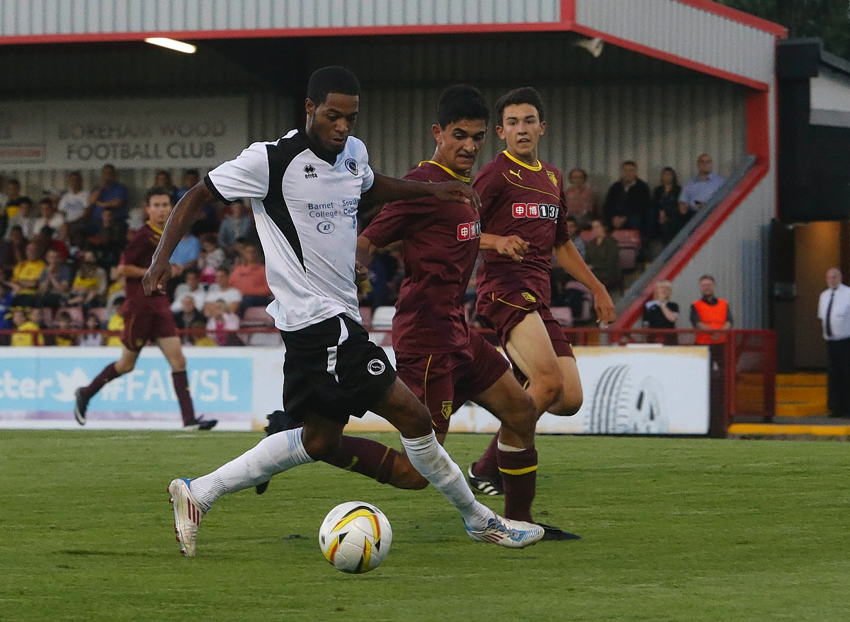 Harry Kyprianou in action during Watford's summer friendly with Boreham Wood. Picture: Peter Beal