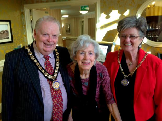 Welcome: Mayor Mike Bennison with the mayoress Mary and resident Sheilagh Lowry