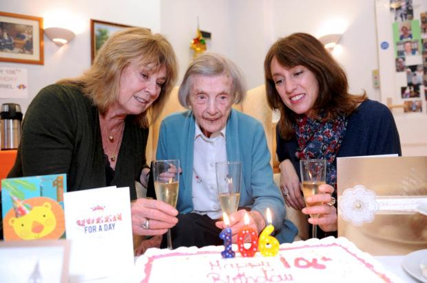 Happy day: Dot Rootes, Muriel Wood and Lucy Davison
