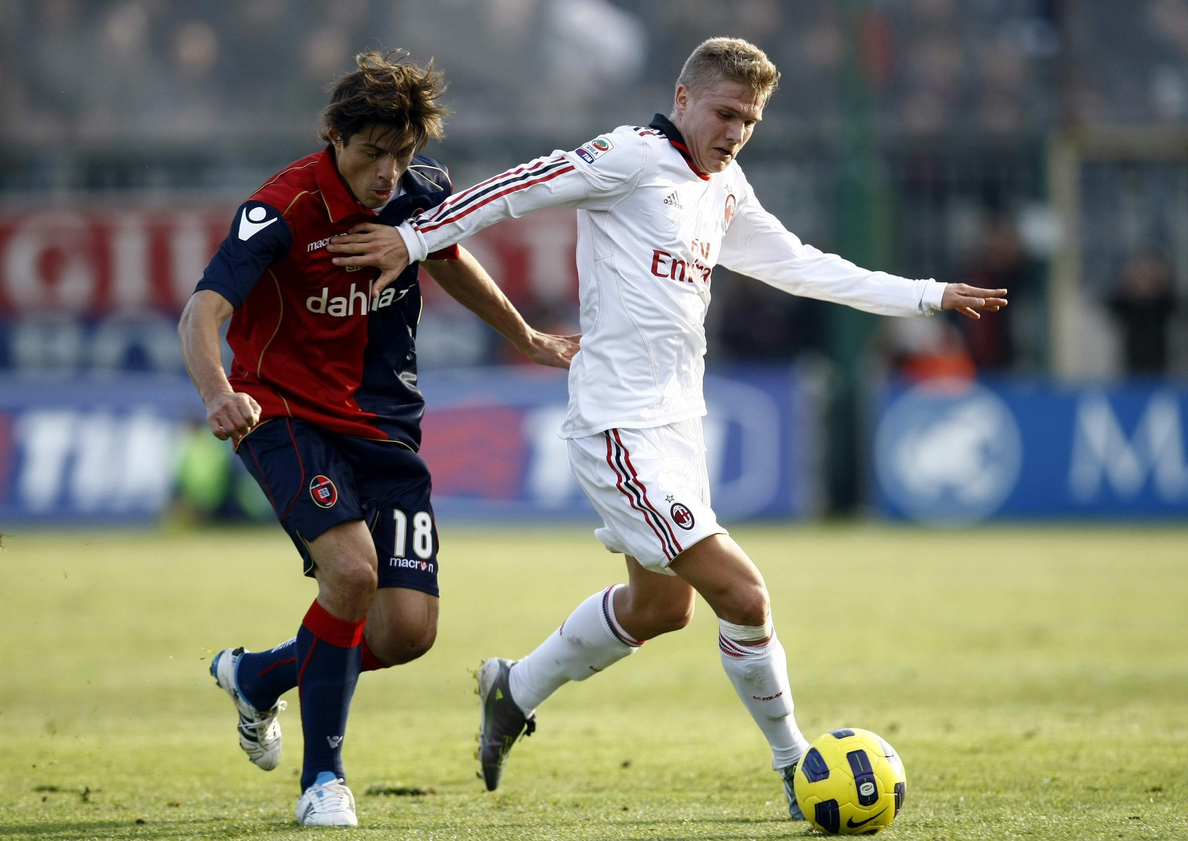 Merkel playing for AC Milan in January 2011. Picture: Action Images
