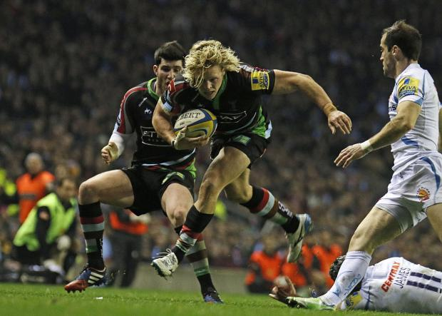 This Is Local London: Up and running: Quins centre Matt Hopper was impressive in the Big Game Six win over Exeter Chiefs at Twickenham stadium in December