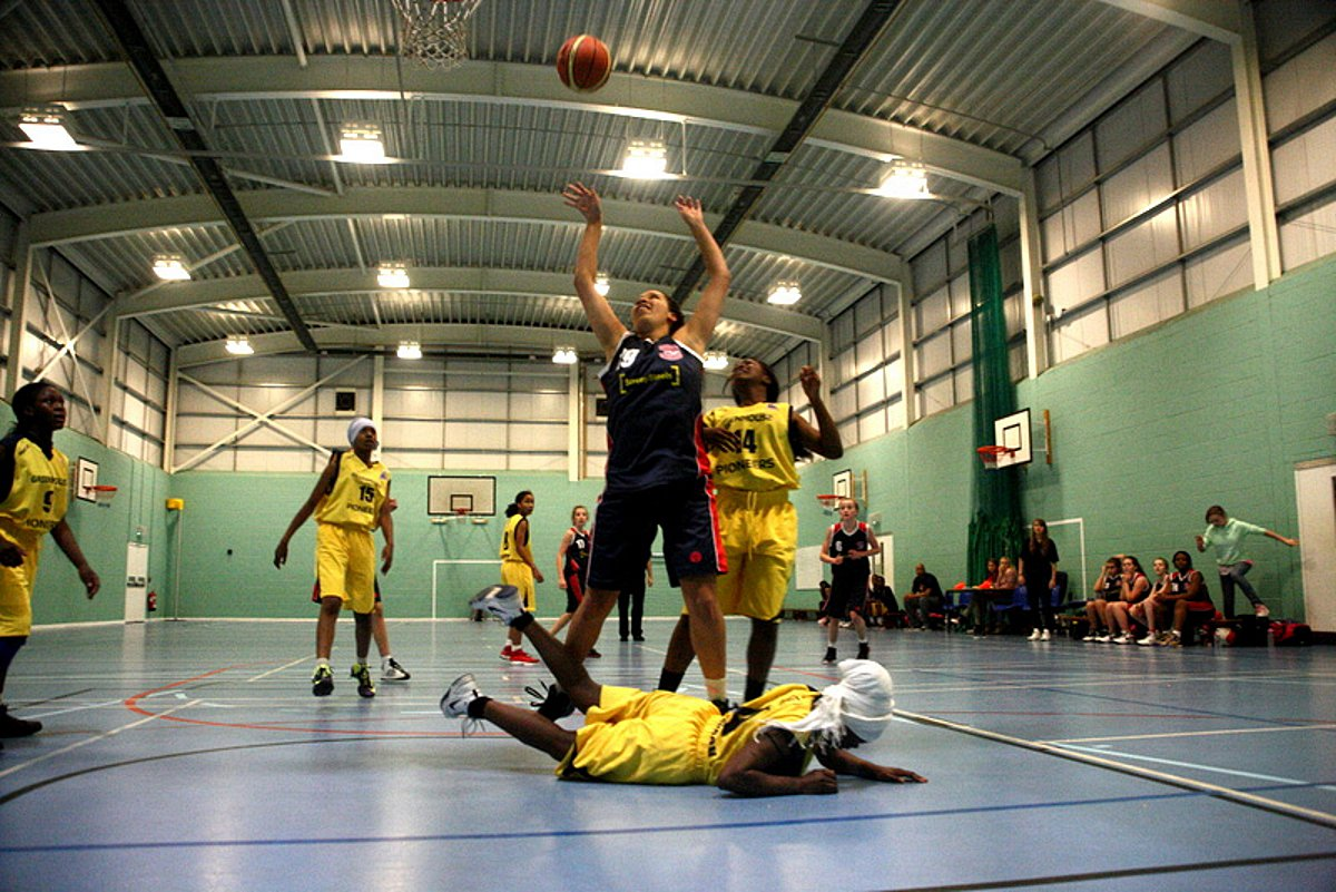 Action: Surrey Steelers (blue) head to the hoop in their win over London Greenhouse Pioneers