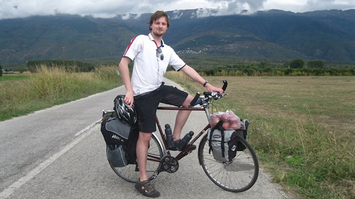 Jonny on one of his cycle tours