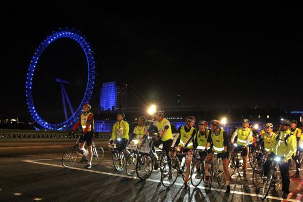 Cyclists who took part in last year's Nightrider got to see some of London's best sights at night.