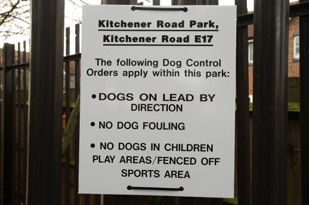 This Is Local London: A dog control order sign at Kitchener Road Park.