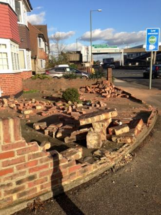The remains of the wall in Woodfield Gardens after the collision. Picture by Katie Logan