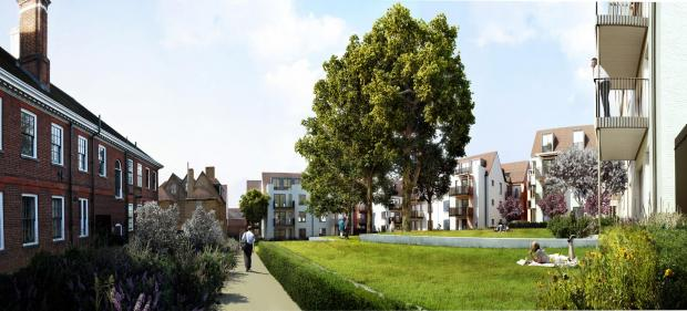 This Is Local London: An artists impression of the fomer site of St Luke's Hospital will look like after more than 160 homes are built in Muswell Hill