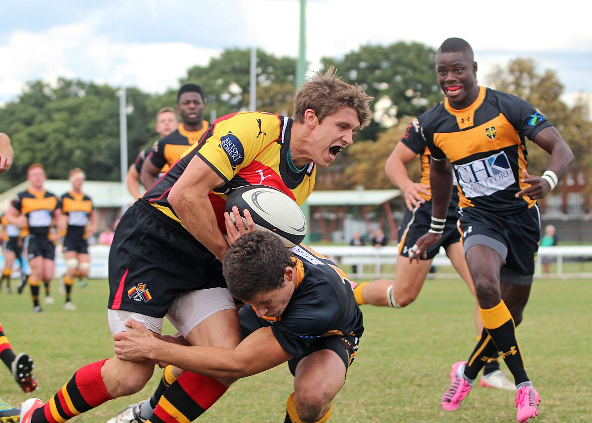 Making a mark: Richmond's Rob Alexander, in action against Esher, was among the try scorers on Saturday