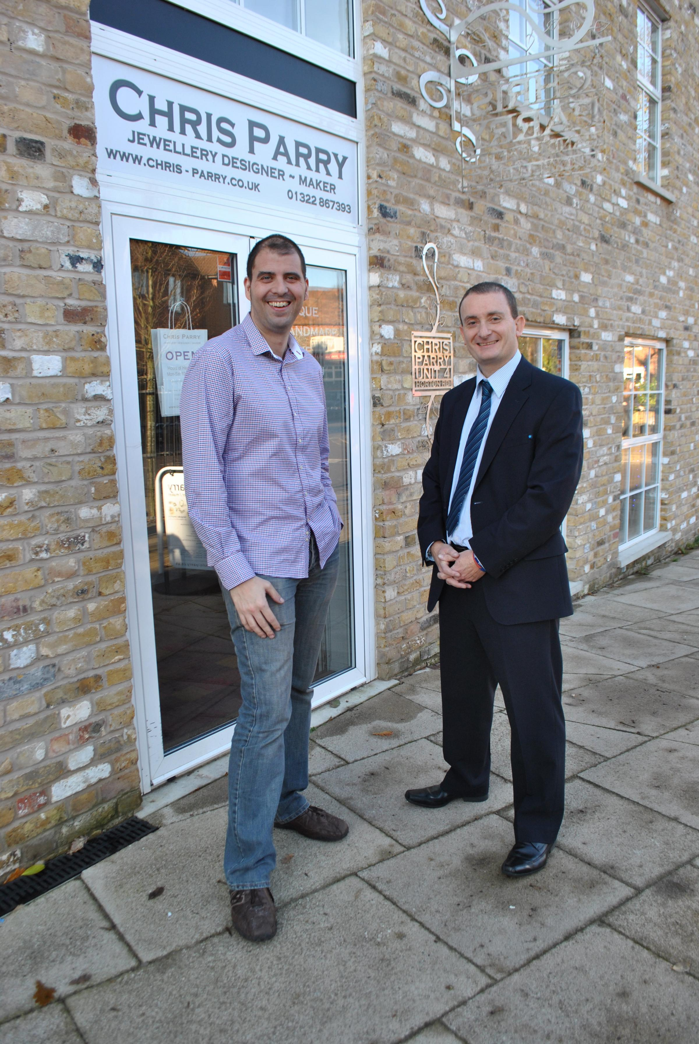 Chris Parry (left) with his Barclays business manager Phil Hand.