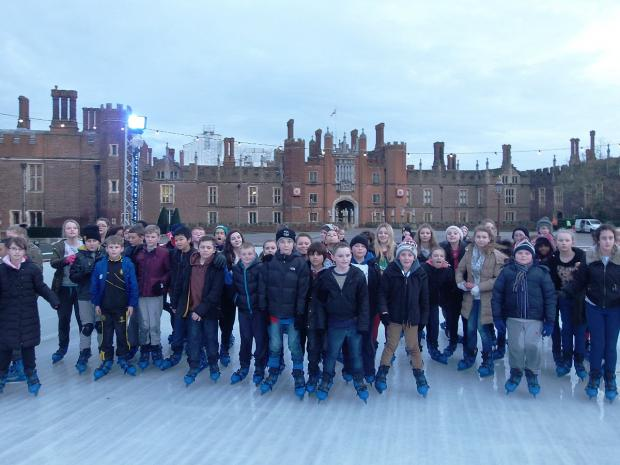 Students with 100% attendance enjoy the ice rink at the Hampton Court Palace.