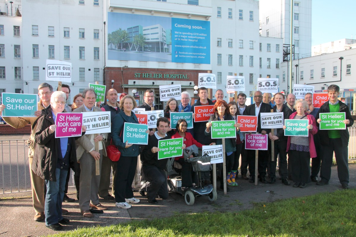 Tom Brake with campaigners outside St Helier Hospital