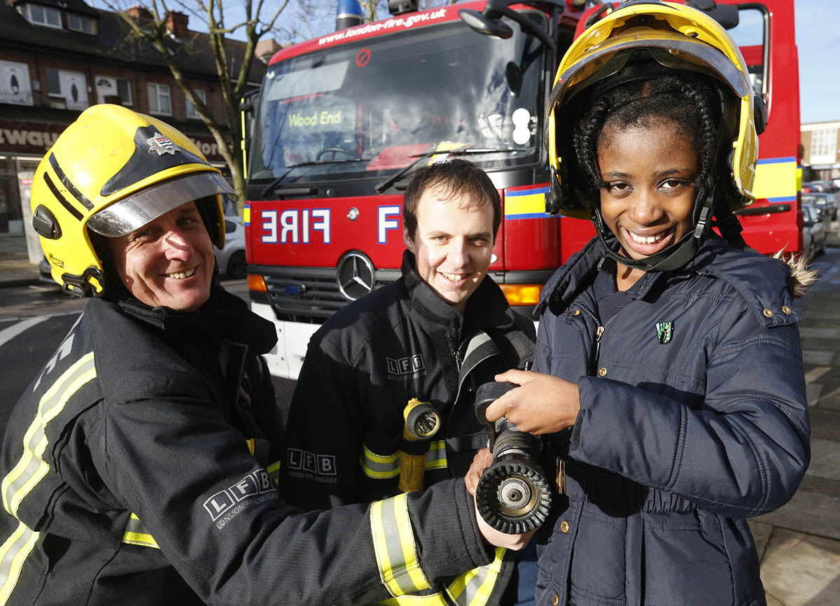 Pupils learn fire safety with firefighters