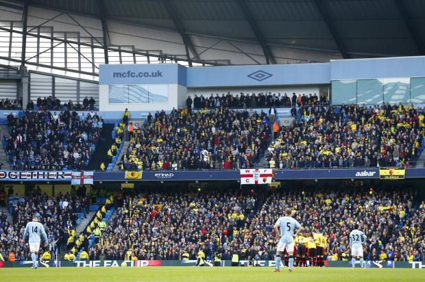 Watford took 6,000 fans to the Etihad Stadium last season. Picture: Action Images