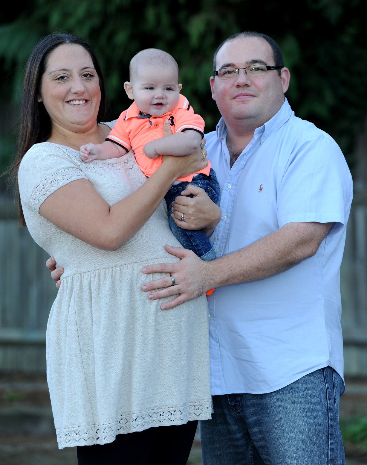 Sarah Ward and partner Ben Smith with their first son Freddie.