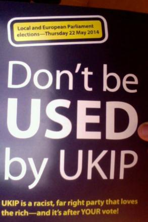 The leaflets branding UKIP 'racist' were distributed at the meeting hosted by the Barnet Alliance for Public Services