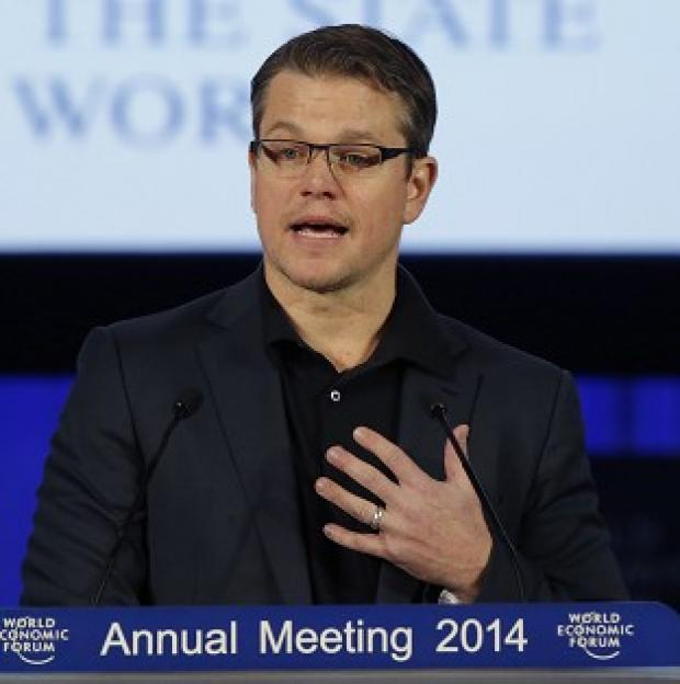 This Is Local London: Matt Damon accepting the Crystal award at the World Economic Forum