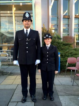 Long and short arm of the law: Ellie Murphy and Martyn Evans
