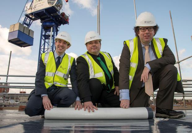 Councillor Alan Strickland joined from Peter Martin, Sanctuary's Group director of development, and the Deputy Mayor of London Richard Blakeway, at the topping out ceremony