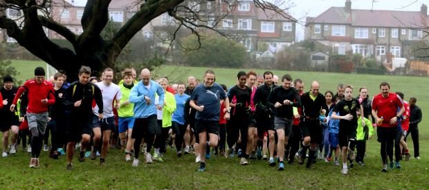 This Is Local London: Runners celebrating Walthamstow Parkrun's first anniversary.