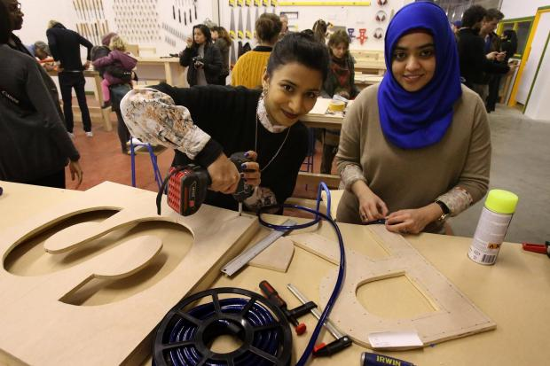 Saadiqah Rahman and Zakiya Umer at the Blackhorse Workshop on opening day.