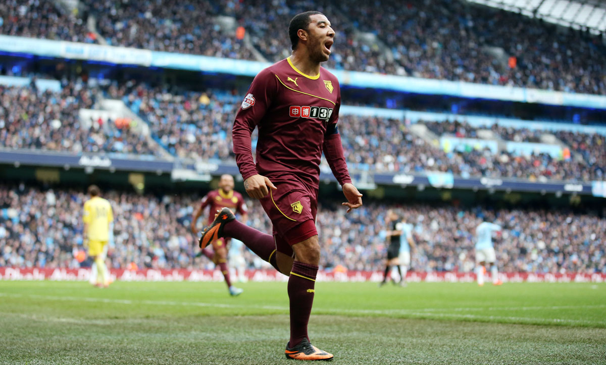 Troy Deeney celebrates putting Watford in dreamland at the Etihad. Picture: Action Images