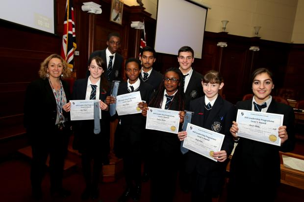 Some of the students involved in the prefect programme with headteacher Jenny Smith.