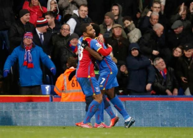 Happy days: Puncheon celebrates the decisive moment in the 1-0 Premier League win over Hull City            Picture: Niall O'Mara