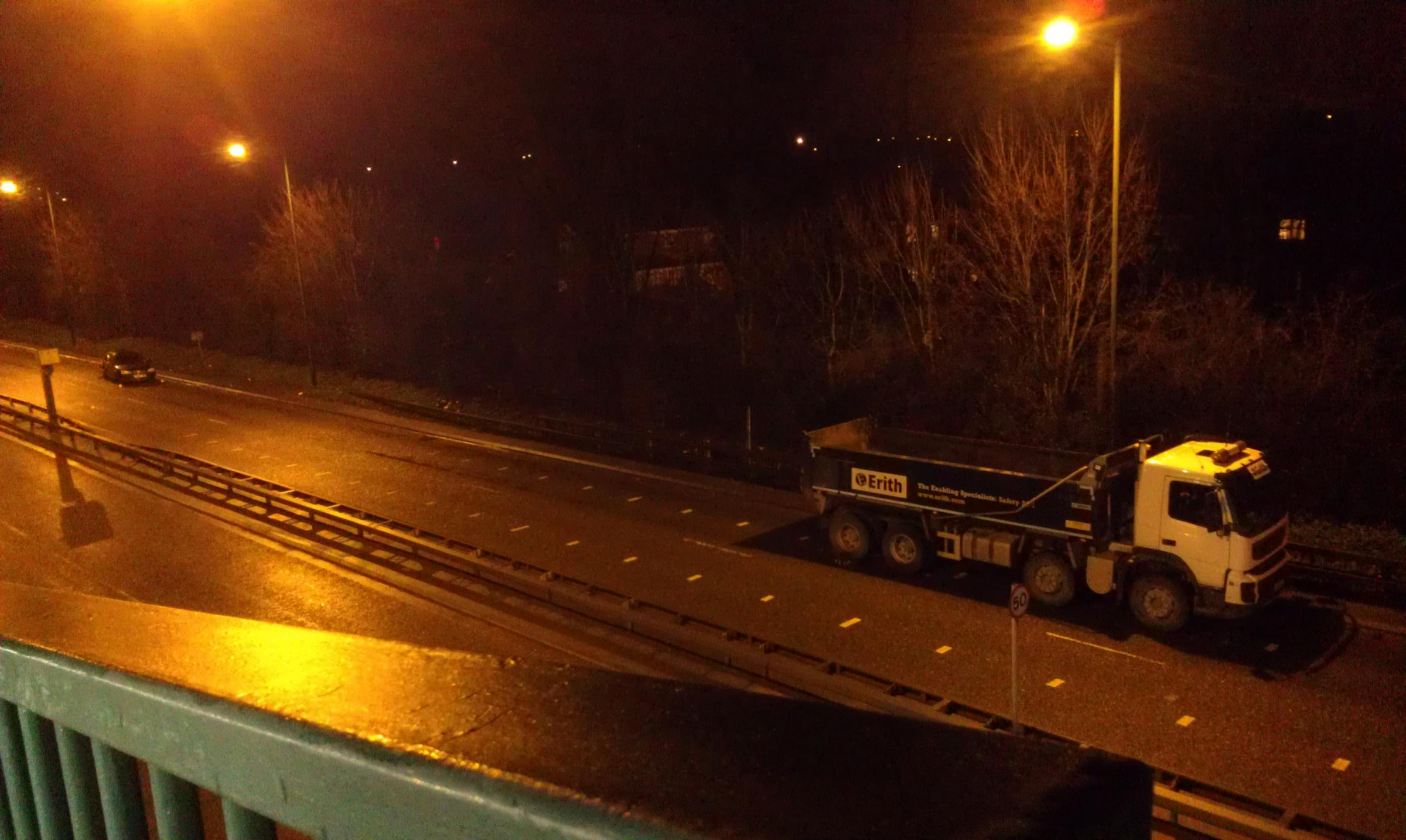 Video: Police car hit by lorry closes one side of Erith dual carriageway