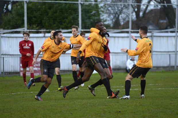 Tough day: Cray Wanderers celebrate Jide Maduako's opener in t