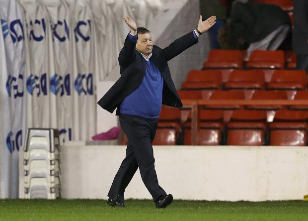 Nottingham Forest manager Billy Davies celebrates victory. Picture: Action Images