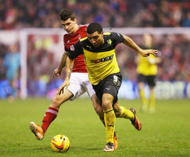 Troy Deeney in action against Nottingham Forest. Picture: Action Images