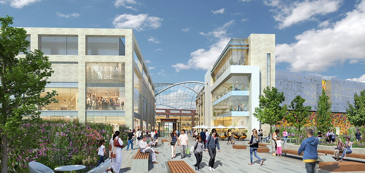 An artists impression of what the new Brent Cross Shopping Centre could look like.