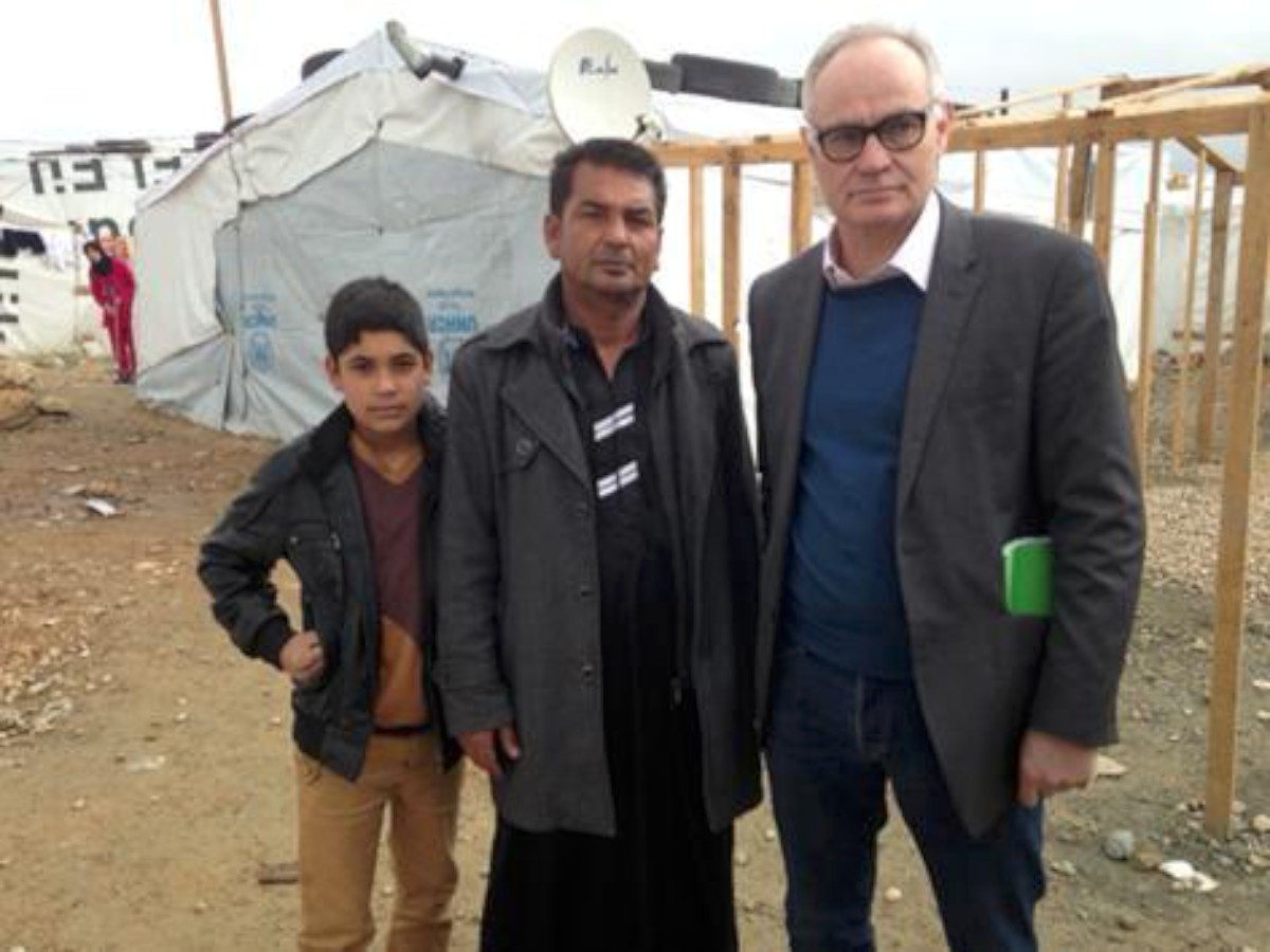 Crispin Blunt meets a father and son who have fled the conflict in Syria