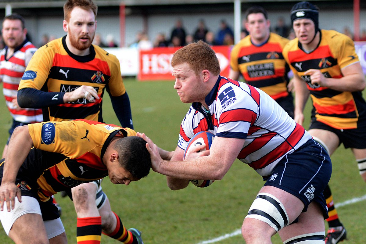 Lots to play for: Hugo Ellis takes on the Richmond defence earlier this season, and he is ready for the final push, despite defeat last weekend at home to Blackheath